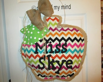 Apple Burlap Door Hanging Natural With Chevron Fabric Overlay Personalized