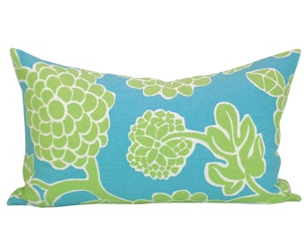 Thibaut Nikko lumbar pillow cover in Turquoise and Green