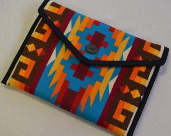 Wool Portfolio Wool Laptop Bag turquoise Native American design Wool from Portland Oregon Wool Macbook Case Rio Rancho