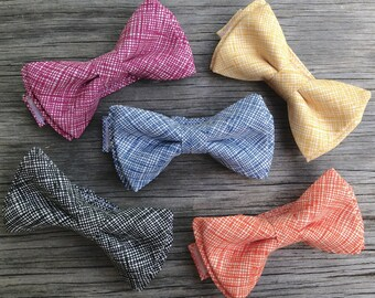 Boy's Bow Tie - Ties for Men - Cotton bow Tie - Mauve Bow Tie - Yellow Ties - Navy Blue Tie - Orange Bow Tie - Black Bow Tie
