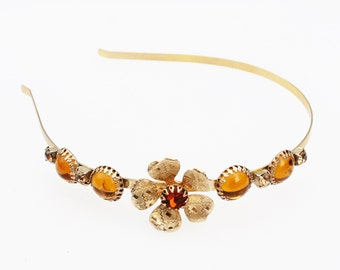 Vintage Gold and Amber  Flower Headband- Bridal, Wedding, Everyday, Prom, Pageant