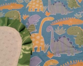 Dinosaur Minky Baby Blanket- Ready to Ship