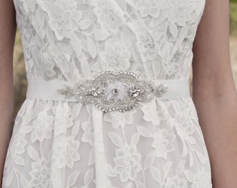 MINNA - Rhinestone Beaded Bridal Sash, Wedding Belt