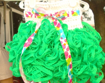 0-6 month ruffle tutu skirt in white and neon green with mulit-color polka dot ribbon