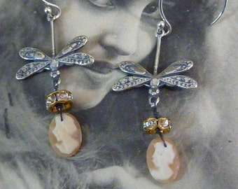 Vintage Antique Assemblage Earrings DRAGONFLY tiny cameo earrings