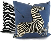 Blue Scalamandre OUTDOOR Zebra Decorative Pillow Cover, Square, Euro or Lumbar Pilllow