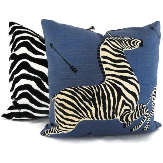Blue Scalamandre Zebra Decorative Pillow Cover Square By