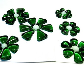 Glass Flowers For Mosaics, Jewelry, Magnets or other Embellishments 6 Flowers  (P209)
