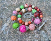 Multi-Colored Turquoise Necklace Chunky Pink Green