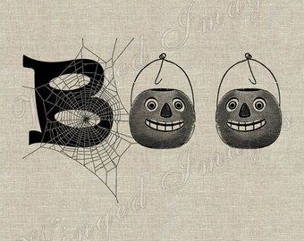 Halloween Boo. Instant Download Digital Image No.201 Iron-On Transfer to Fabric (burlap, linen) Paper Prints (cards, tags)