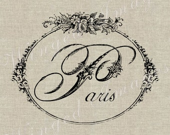 Paris Word Floral Script Instant Download Digital Image No.160 Iron-On Transfer to Fabric (burlap, linen) Paper Prints (cards, tags)