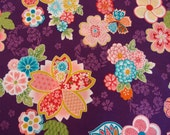 Japanese cherry blossom fabric on purple by Kona Bay - Sakura Collection (1 yard)