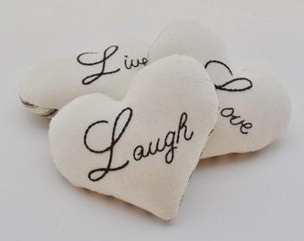 Live Love Laugh Decorative Heart Pillows - Wedding Decor Bowl Fillers - Black Ticking Tucks - Hand Embroidery - Stripes Home Decor