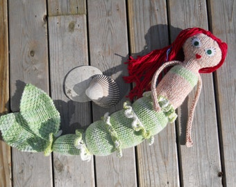 Custom handknit mermaid doll, made to order, you choose skin, hair, tail, eye color