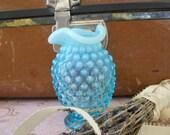 Vintage Fenton Bud Vase Blue Opalescent Hobnail Small Round Ruffed Edge