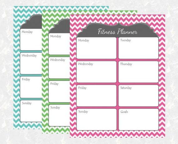 Diy Exercise Calendar : Chevron fitness planner printable diy instant download