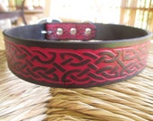 """Celtic Leather Dog Collar. 1 1/4"""" Deep Red and Black Embossed Leather Collar."""