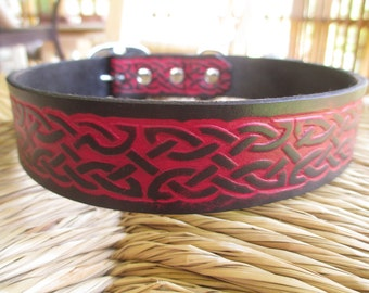 "Celtic Leather Dog Collar. 1 1/4"" Deep Red and Black Embossed Leather Collar."