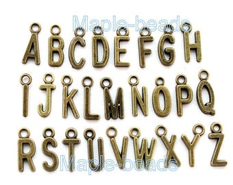 26 Alphabet charm Letters-1 loop charms- antique brass letter charm