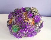 RESERVED: Remaining balance on an X-Large purple brooch bouquet with orange and green accents