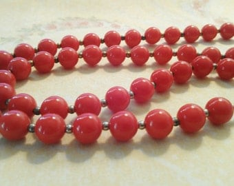 Red and Gold Strand Bead Necklace