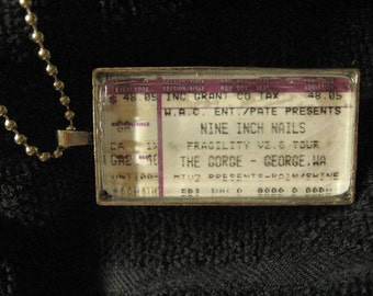 Nine Inch Nails @ The Gorge George, WA 2000 Concert Ticket Stub Necklace