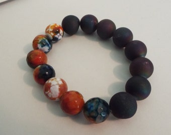 Navy druzy and quartz stretchy bracelet