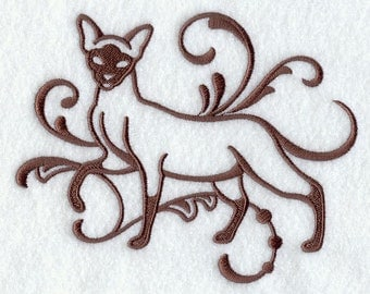 Damask Siamese Embroidered Flour Sack Hand/Dish Towel