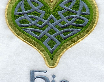 Celtic Knot Heart HIS Embroidered Flour Sack Hand/Dish Towel
