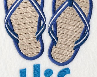 Flip Flops Flip Flaps Sandals HIS Embroidered Flour Sack Hand/Dish Towel
