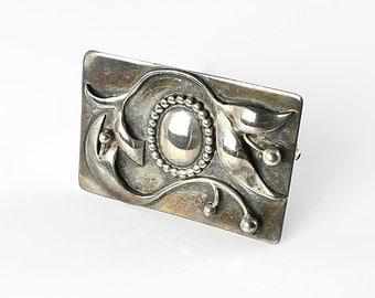 Lily flower Brooch, Sterling silver Heavy Scandinavian Nordic style, Vintage 1940s jewelry