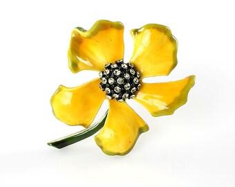 Yellow Flower Brooch, Rhinestone Har Brooch Enamel Flower power, Vintage Mod  jewelry