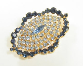 Vintage Blue Crystal Rhinestone Tiered Brooch 1960s