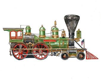 "Green Steam Engine Locomotive watercolor print, 8x10"""