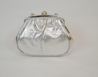 1960s Silver Lame Formal Handbag, Clutch, Wristlet, Wedding, Bridal, Formal, Evening Bag