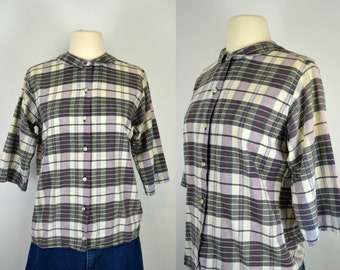 1960s/1970s Black, Purple and White Plaid/Checkered Blouse by Indian Madras