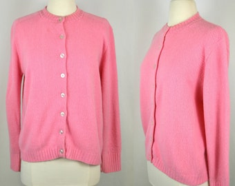 1970s/1980s Bubble Gum Pink Cardigan Sweater, Knit Weave, Orlon Acrylic