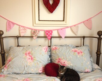 Valentine Heart Bunting Banner Garland-Pretty in Pink-Baby Girl Bunting