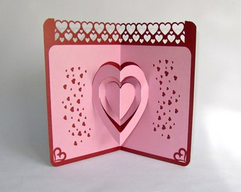 LOVE BOAT VALENTINEs Day 3D Pop Up Card Handmade Handcut in