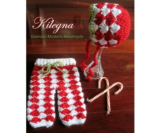 My First Christmas Pajamas Candy cane crochet baby  n pants hat bonnet  Red / White Photo Prop newborn take home