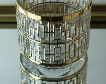 Imperial Glass Shoji Hospitality Bowl. Fig House Vintage. Vintage Ice Bucket. 24KT Gold Bucket. Imperial