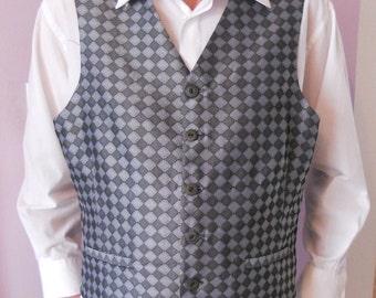 Silver grey jacquard clasic men's vest, size XL mens vest, ready to ship