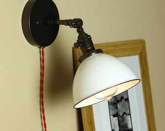 Industrial, Articulating Wall Sconce Lighting - Steampunk Light - WHITE Porcelain Enamel Shade - Hand Finished in Oil Rubbed Bronze
