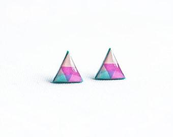Triangle stud earrings neon jewelry bright post earrings
