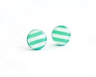 White green post earrings, striped stud earings