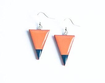 Triangle earrings, geometric jewelry, orange earrings dangle, geometrischer schmuck