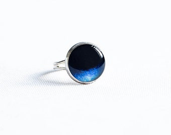Adjustable galaxy ring space jewelry, dark blue ring astronomy jewelry
