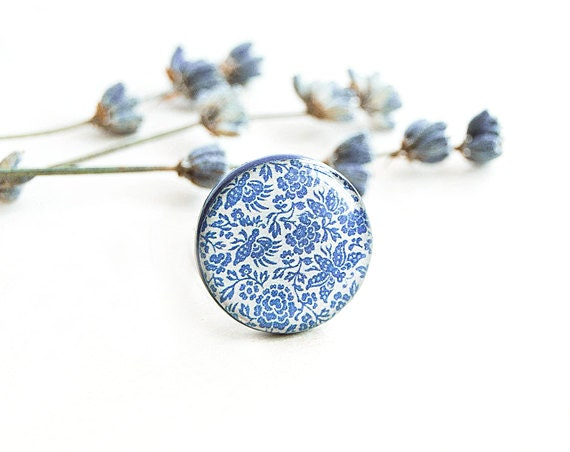 Blue flowers ring, floral jewelry, garden, adjustable floral ring