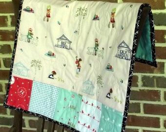 Country Girl Reversible Stroller Blanket, Handfinished