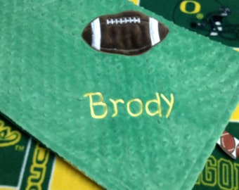 Personalized University of Oregon Ducks Fleece and Minky Baby Blanket with football applique